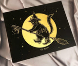SALE // Cat Witch - Gold Foil Print