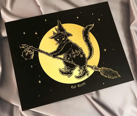 Cat Witch - Gold Foil Print
