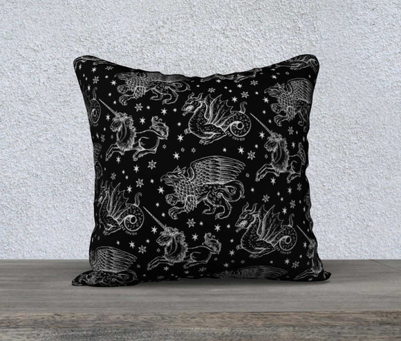 Decorative Pillow Cover - Fantasy Creatures (X-Ray)