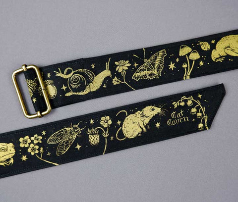 Forest Creatures - Handmade Belt - Gold