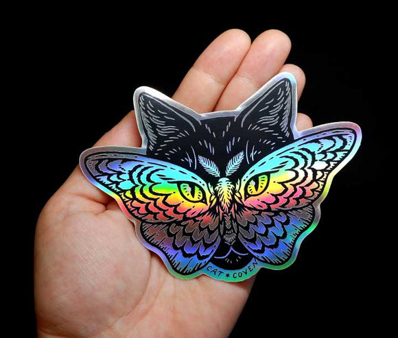 Cat & Moth - Holographic Sticker (1)