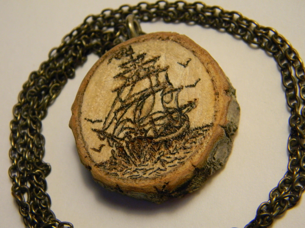 Sailing Ship and Compass (double-sided necklace)