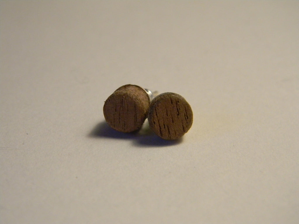 Raw Walnut Stud Earrings - Small