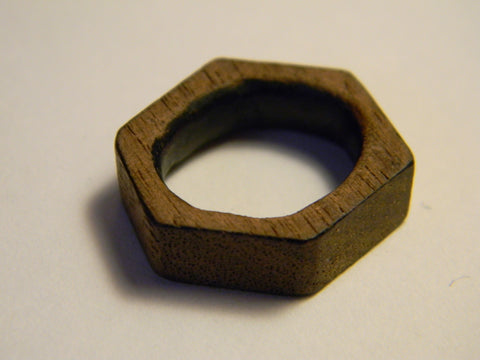 Raw Walnut Hexagon Ring
