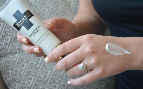 Women's Hand With Engagement Ring & Moisturizer