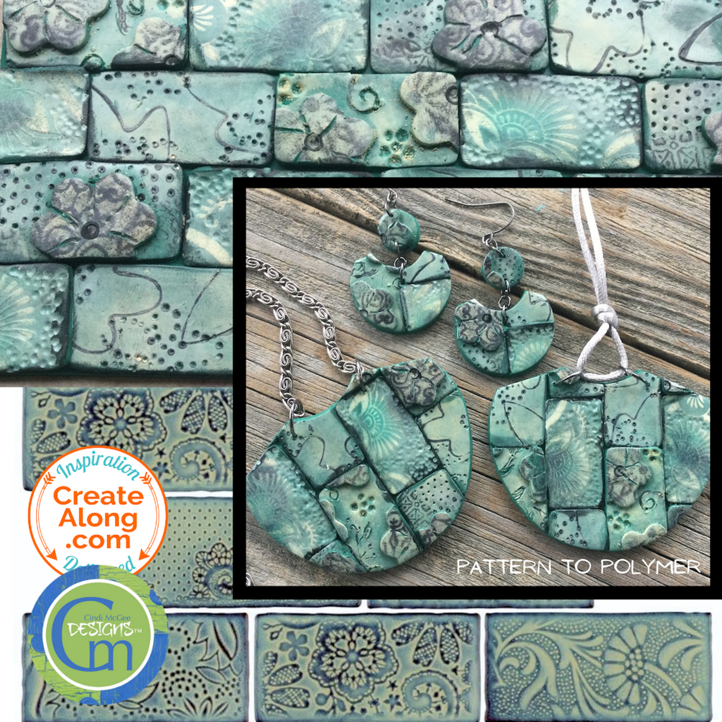 Learn New Techniques and make Sea Green Floral Tile Polymer Clay Jewelry