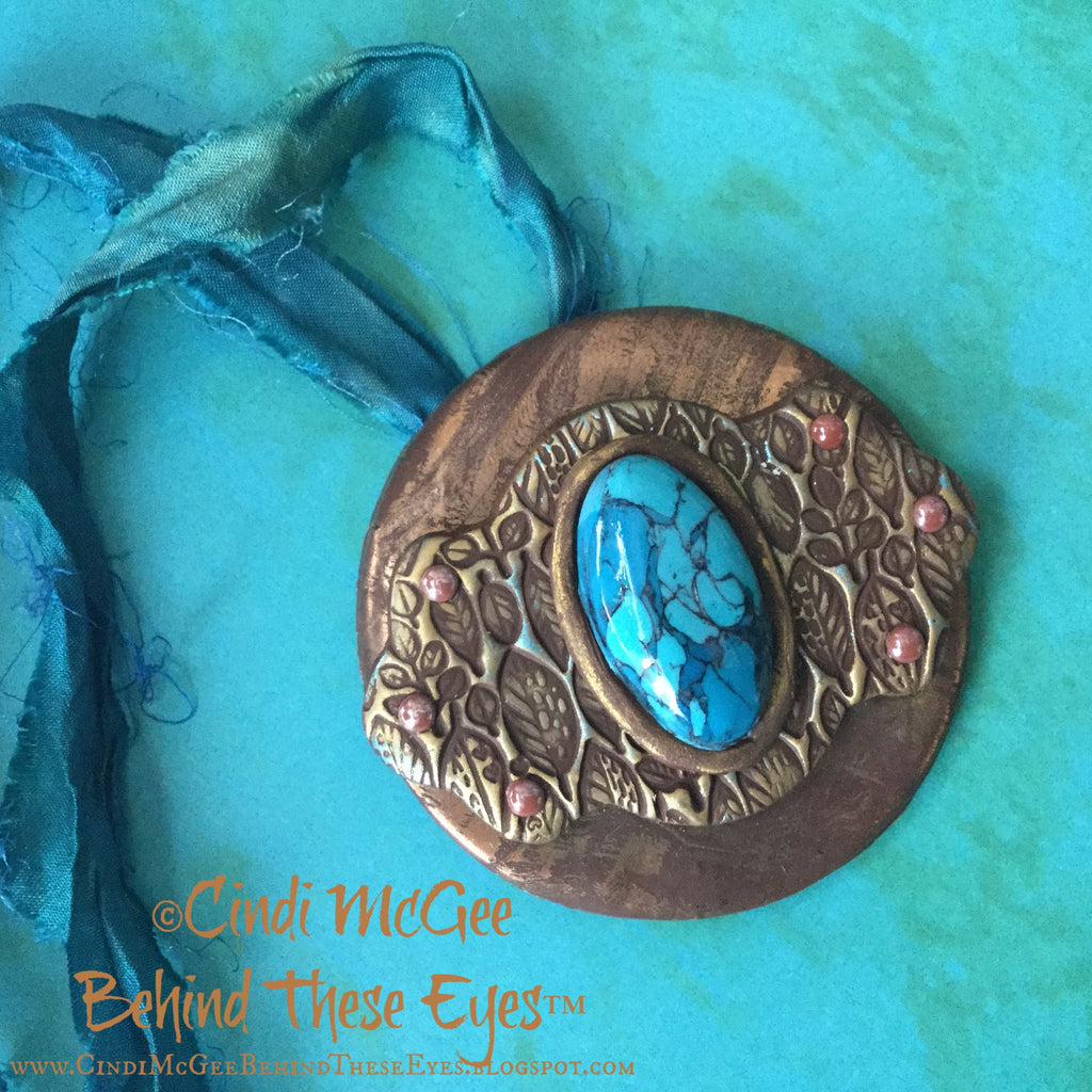 Turquoise & Leaves Pendant - Create Along Box