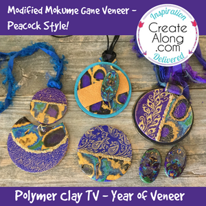 Modified Mokume Gane Veneer in Peacock Colors - Polymer Clay TV Year of Veneer