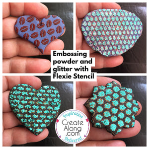 Adding Glitter and Embossing Powder to Polymer clay and Stencil Designs