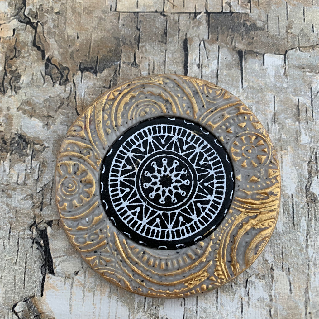 Year of Veneer- textured and silkscreen polymer clay mandala trading coins
