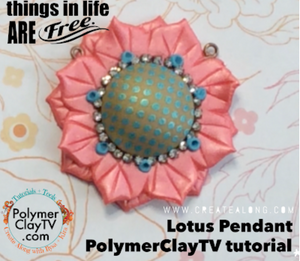 How to create your own multipetal lotus flower pendant with polymer clay