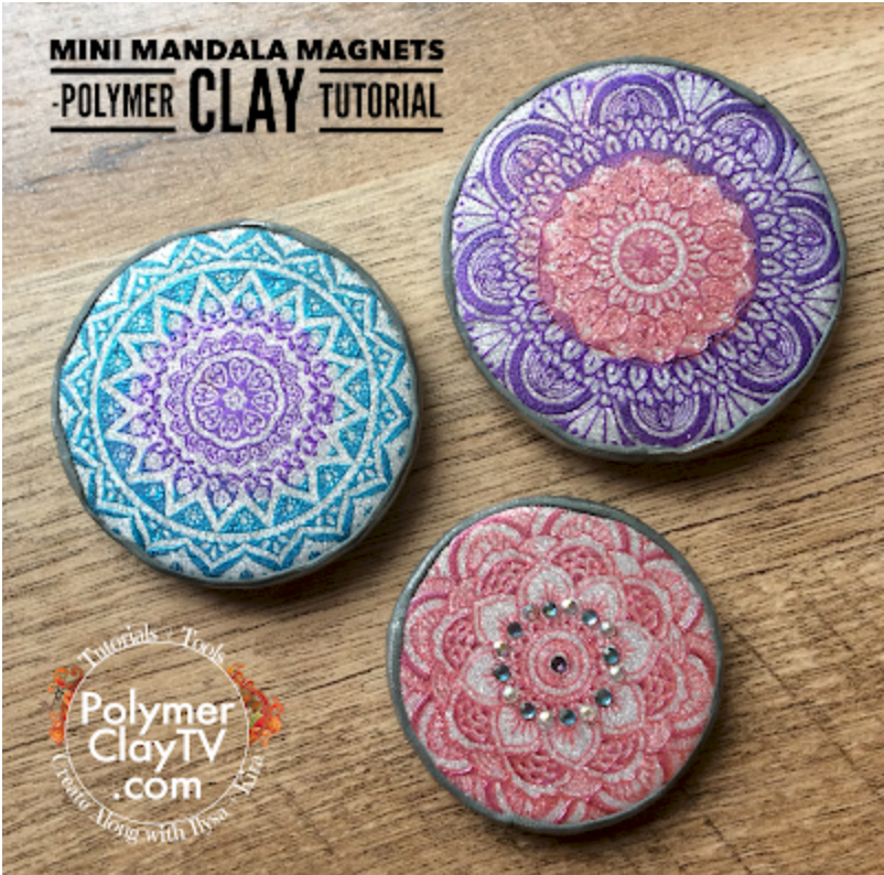 How to make polymer clay magnets with multicolor Mandala designs
