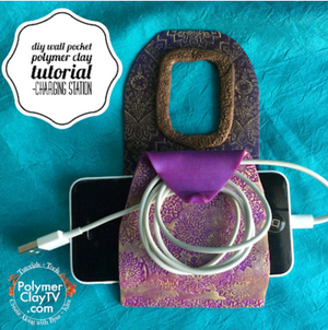 How to make a cute DIY wall phone charger pocket using polymer clay silkscreens and rubber stamps