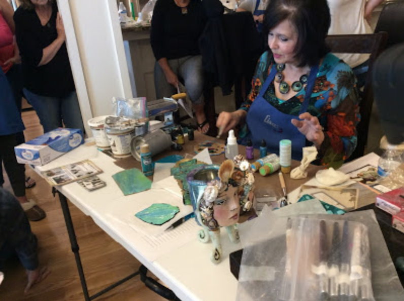 A live view inside a polymer clay art retreat with Lisa Renner and Syndee Holt and Polymer Clay TV