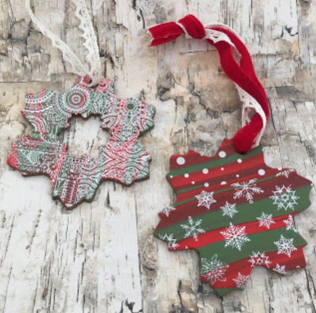 How to make holiday Christmas polymer clay snowflake ornaments