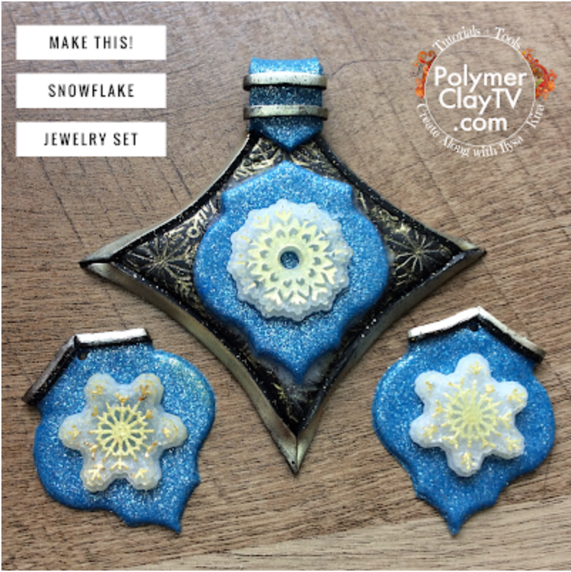 Make a pretty polymer clay jewelry set with Wintery snow and snowflake designs
