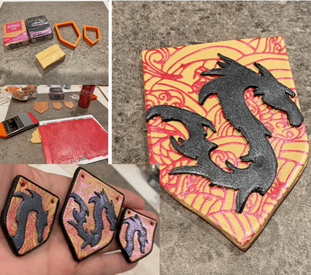 Here there be DRAGONS! Learn to Make your own Dragon Shield Jewelry with Polymer Clay!