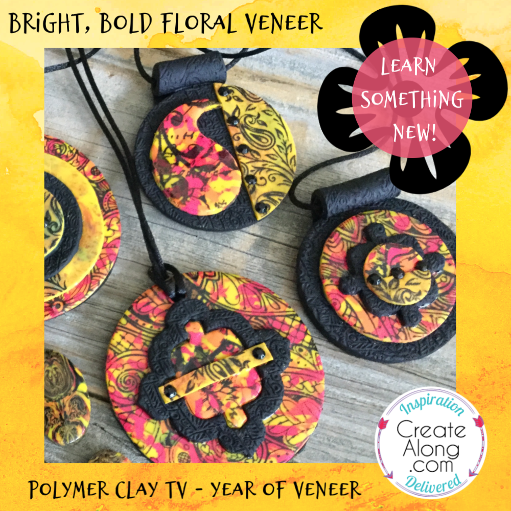 How to Create a Bright and Bold Floral Polymer Clay Veneer DIY Tutorial Video