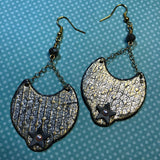 How to make glimmery grunge silver and gold lightweight earrings from polymer clay
