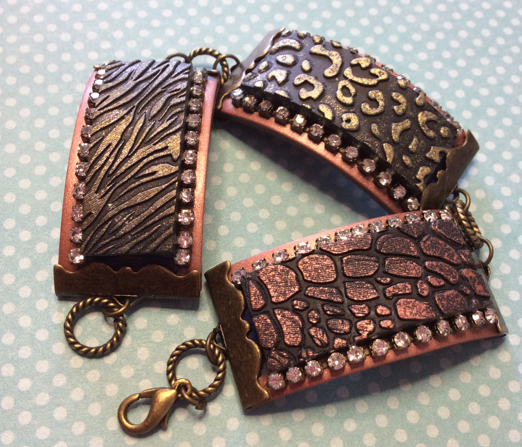 How to make a Ribbon Clamp textured bracelet with polymer clay, inks, and jewelry findings