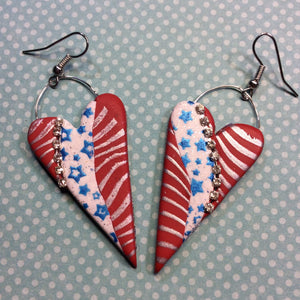 Stars and Stripes 15 minute polymer clay earrings for Fourth of July