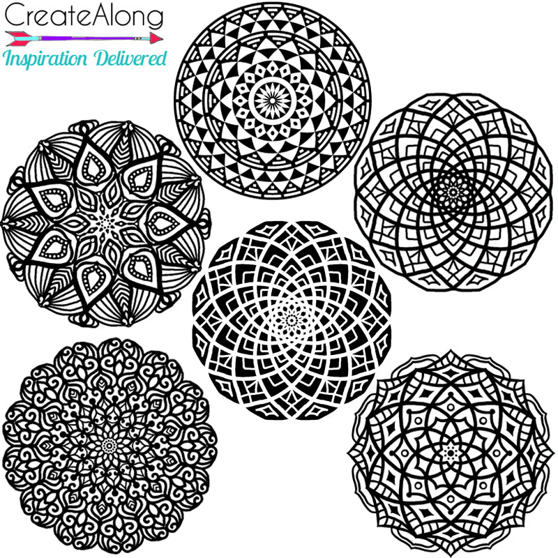 Silkscreen 6 Small Mandalas Great For Polymer Clay, Art Jewelry, Mixed-Media and more - Polymer Clay TV tutorial and supplies
