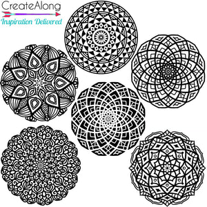 Silkscreen 6 Small Mandalas Great For Polymer Clay