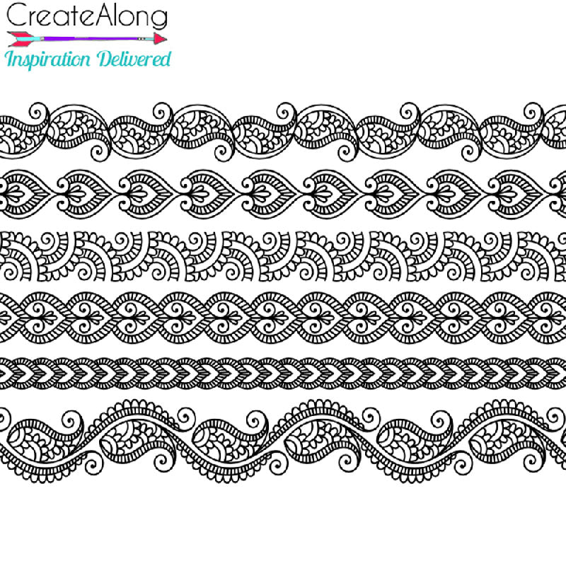 Silkscreen Stencil Henna Borders For Crafting, art jewelry, Polymer Clay + Mixed Media - Polymer Clay TV tutorial and supplies