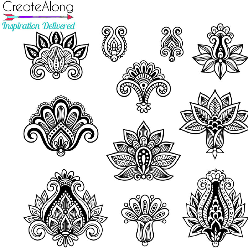 Henna Lilies elements Silkscreen Stencil For Polymer Clay