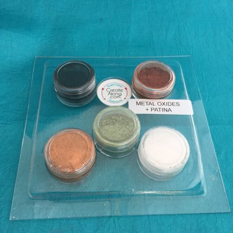 Image of Pigments Mineral Palette Powders Metal Oxides Patina for Polymer Clay, Art Jewelry and Mixed Media Set of 5 - Polymer Clay TV tutorial and supplies