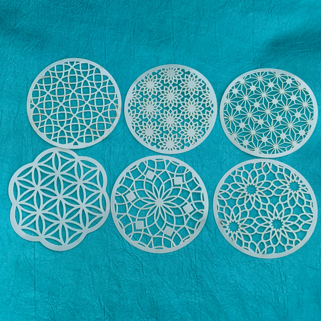 Coin Set #3 Round Mandala Stencils 6 patterns for polymer clay art jewelry mixed media - Polymer Clay TV tutorial and supplies