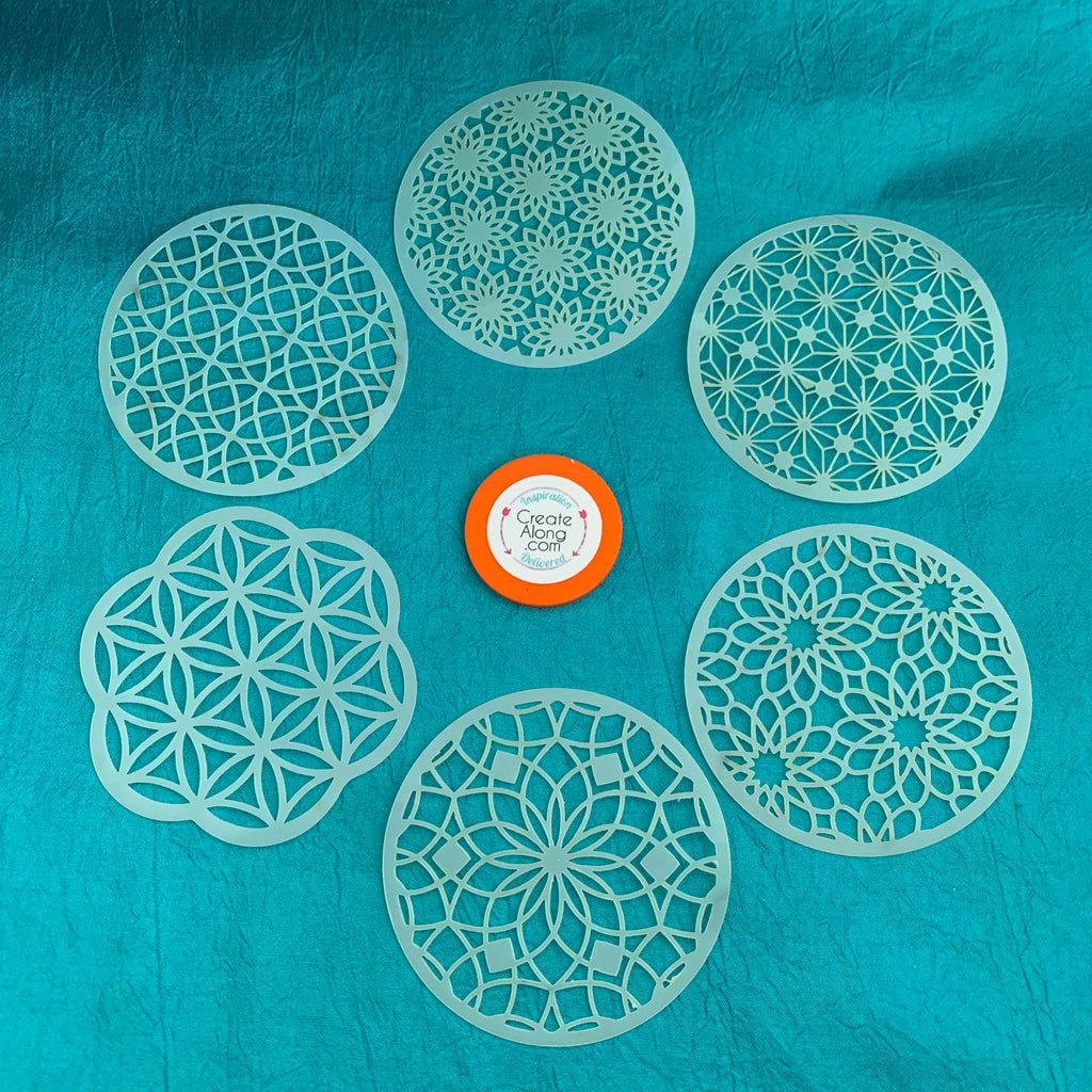Coin Set #3 Round Mandala Stencils 6 patterns for polymer clay art jewelry mixed media