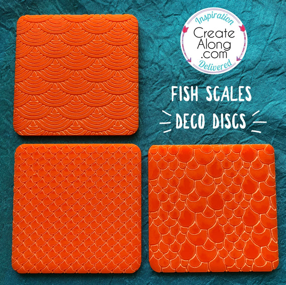 Fish Scales Deco Disc stamp and texture pattern designs in polymer clay