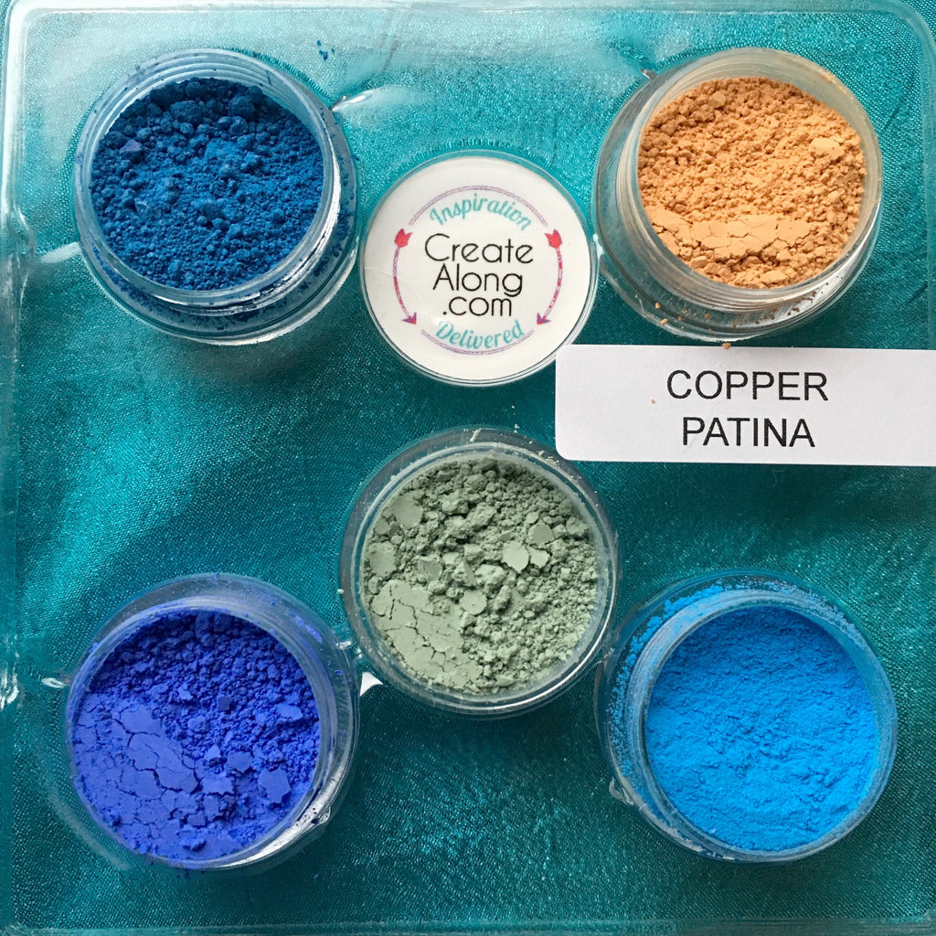Pigments Mineral Palette Powders Copper Patina set of 5 - Polymer Clay TV tutorial and supplies