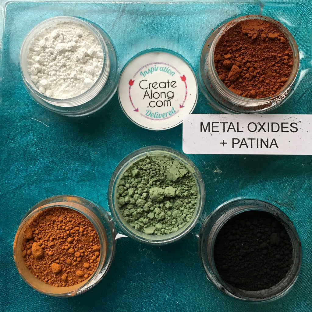Pigments Mineral Palette Powders Metal Oxides Patina set of 5 - Polymer Clay TV tutorial and supplies
