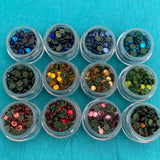 Set of 12 Hot Fix Rhinestone Glass Crystals Multi Colors to add Bling for polymer clay, art jewelry and mixed media - Polymer Clay TV tutorial and supplies