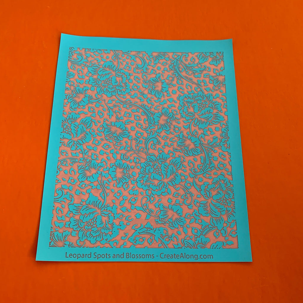 Silk Screen Leopard Cheetah and Blossoms Stencil For Polymer Clay