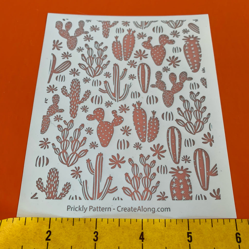 Silk Screen Prickly Cactus Pattern Stencil For Polymer Clay