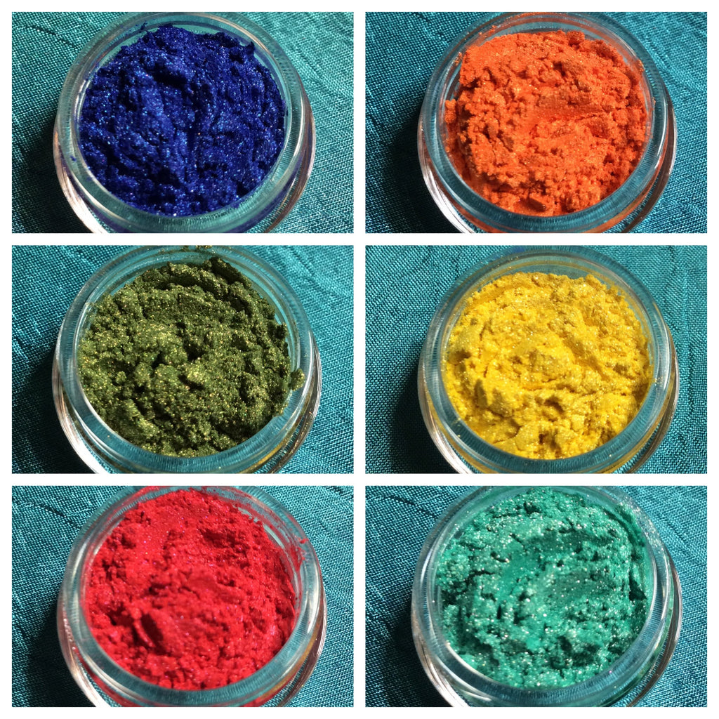 Pigments Mica Powders Summer Brights for Polymer Clay, Art Jewelry and Mixed Media color shimmer - Polymer Clay TV tutorial and supplies