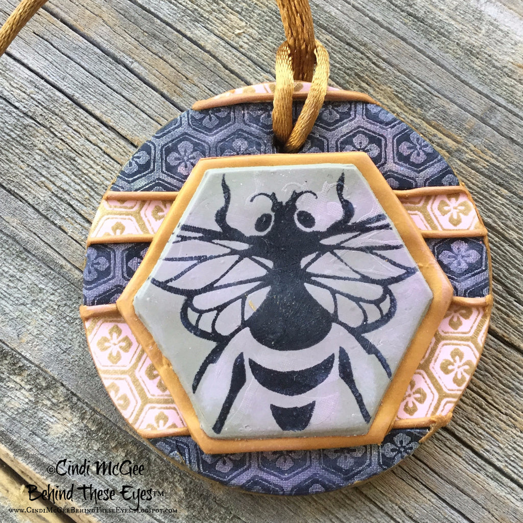 Silk Screen Cindi's Bees polymer clay stencil