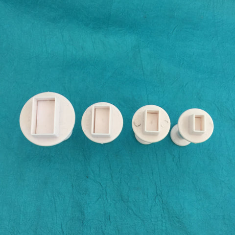 Image of Mini Rectangle Plunger Cutters Set of 4 graduated sizes for polymer clay - Polymer Clay TV tutorial and supplies