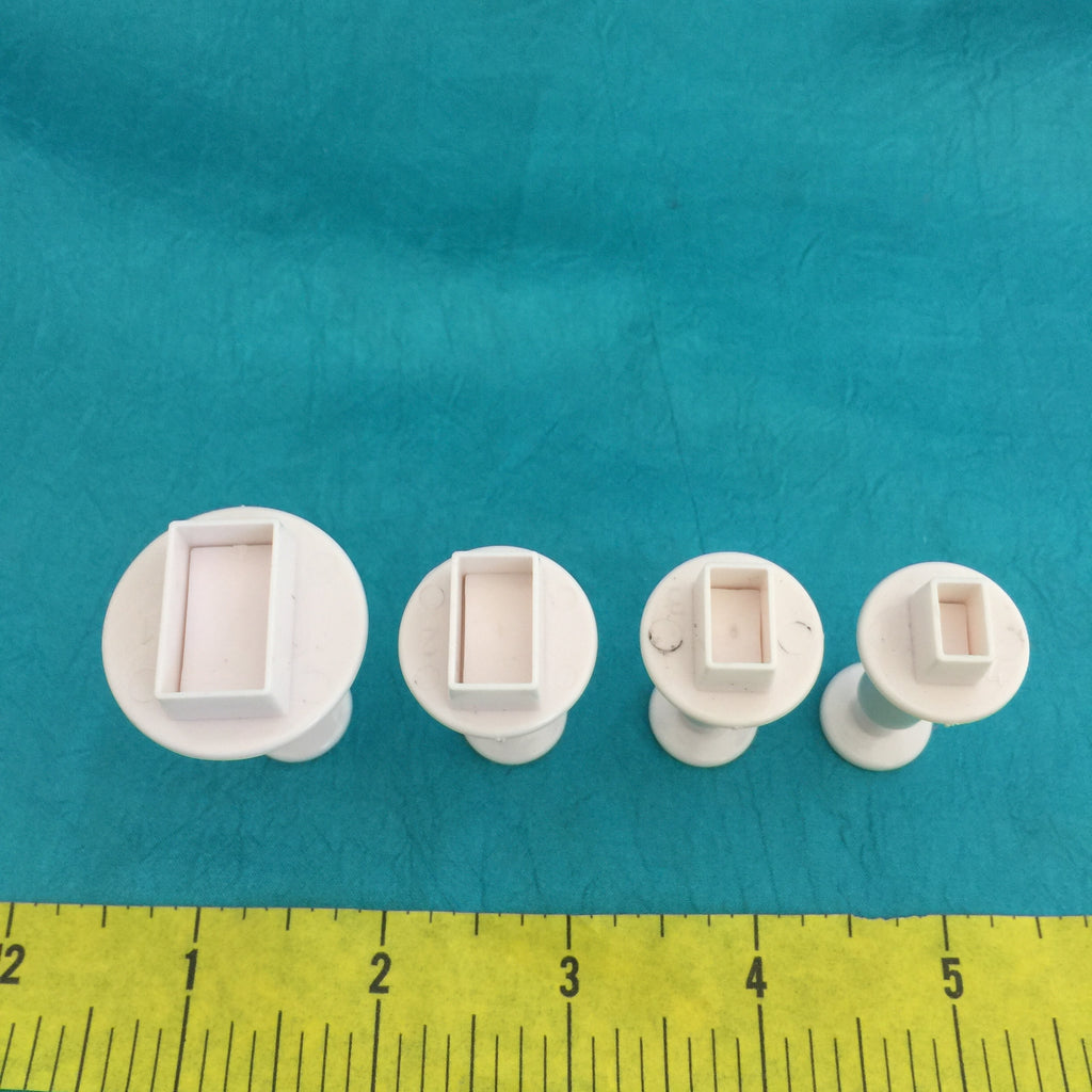 Mini Rectangle Plunger Cutters Set of 4 graduated sizes for polymer clay - Polymer Clay TV tutorial and supplies