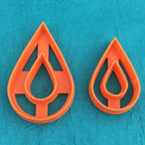 Tear Drop with center cut out Jewelry Sized set of 2 graduated Cutters for Polymer Clay and Mixed Media