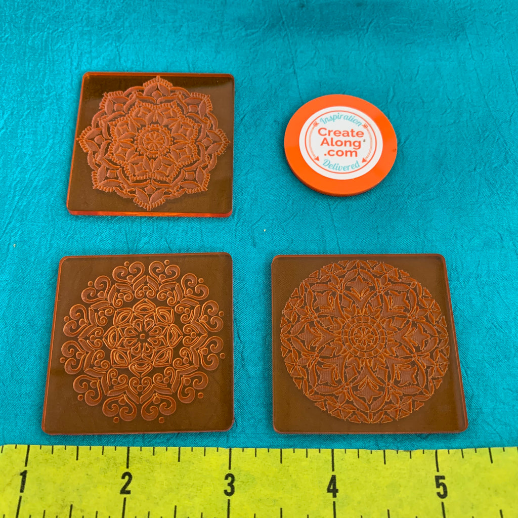 Deco Disc Stained Glass Tiles Stamp and Texture Pattern Designs for polymer clay