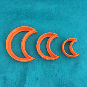 Graduated Crescent Moon Jewelry Sized set of 3 Cutters for Polymer Clay and Mixed Media - Polymer Clay TV tutorial and supplies