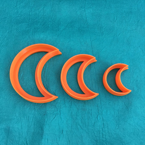 Image of Graduated Crescent Moon Jewelry Sized set of 3 Cutters for Polymer Clay and Mixed Media - Polymer Clay TV tutorial and supplies