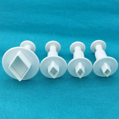 Mini Diamond Plunger Cutters Set of 4 graduated sizes for polymer clay, art jewelry, mixed-media and more - Polymer Clay TV tutorial and supplies