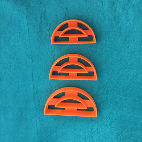 Image of Semi Circle with center cut out Jewelry Sized set of 3 graduated Cutters for Polymer Clay and Mixed Media - Polymer Clay TV tutorial and supplies