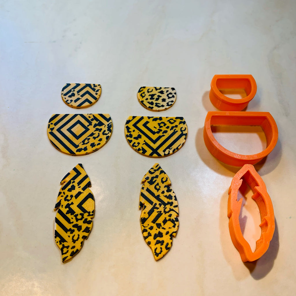 Graduated Feathers shape Jewelry Sized set of 3 polymer clay Cutters