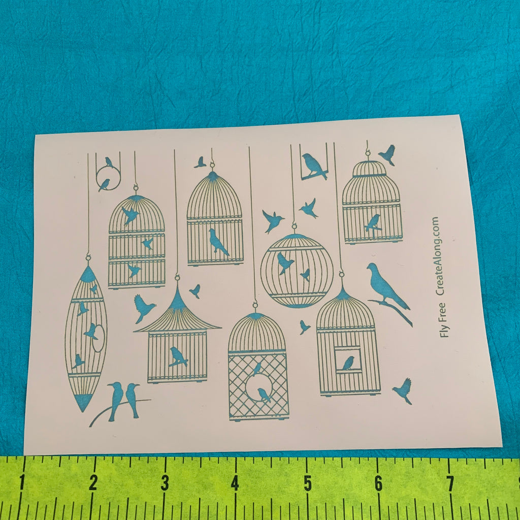 Silkscreen Fly Free Birds Birdcage Stencil for Polymer Clay, Art Jewelry and Mixed Media - Polymer Clay TV tutorial and supplies